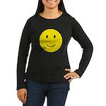 Happy Face Smiley Women's Long Sleeve Dark T-Shirt