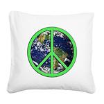 Earth Peace Symbol Square Canvas Pillow