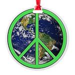 Earth Peace Symbol Round Ornament