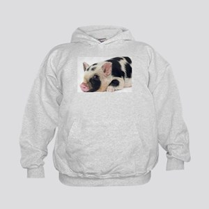 Micro pig chilling out Kids Hoodie