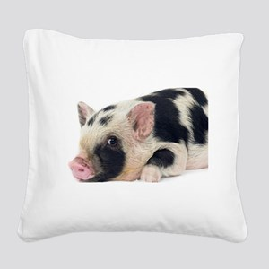 Micro pig chilling out Square Canvas Pillow