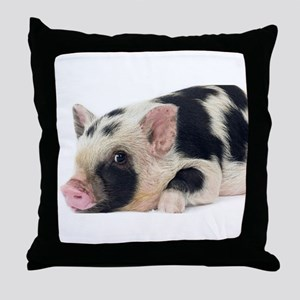 Micro pig chilling out Throw Pillow