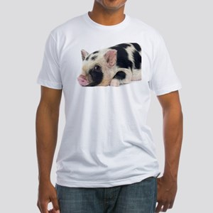Micro pig chilling out Fitted T-Shirt