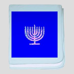 Blue Chanukah Menorah Designer baby blanket