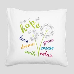 Dandelion Hope Square Canvas Pillow