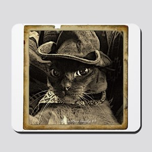Cowboy Cat, 4, sepia Mousepad
