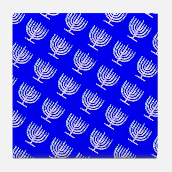 Blue Menorahs for a Hanukkah Mensch Tile Coaster