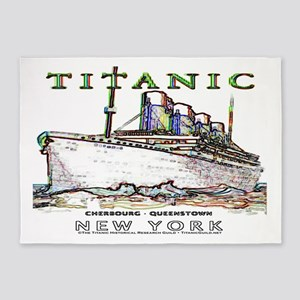 Titanic Neon (white) 5'x7' Area Rug