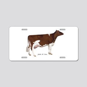 Red and White Holstein Cow Aluminum License Plate