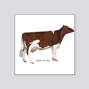 "Red and White Holstein Cow Square Sticker 3"" x 3"""