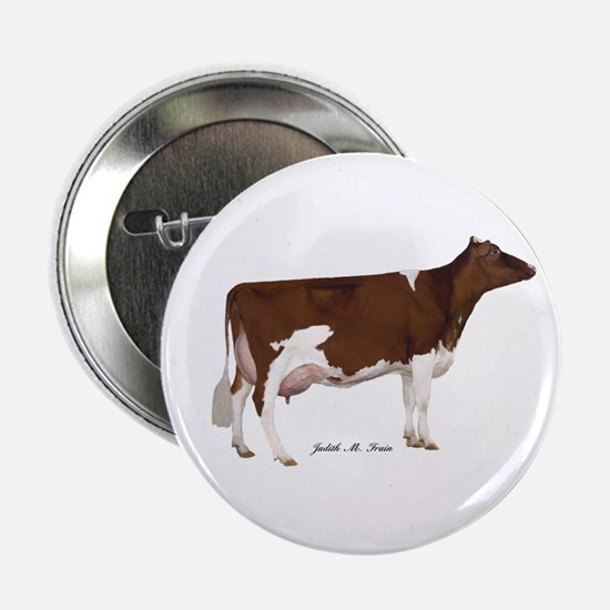 """Red and White Holstein Cow 2.25"""" Button"""