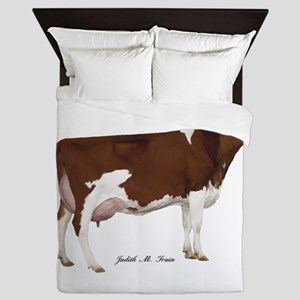 Red and White Holstein Cow Queen Duvet