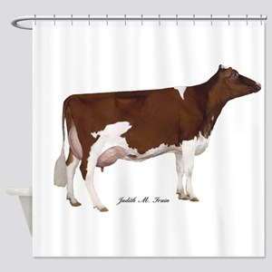Red and White Holstein Cow Shower Curtain