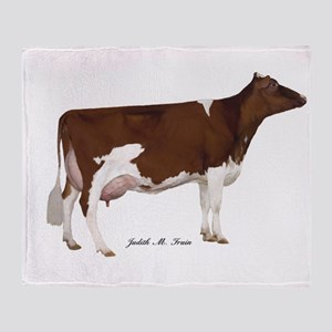 Red and White Holstein Cow Throw Blanket