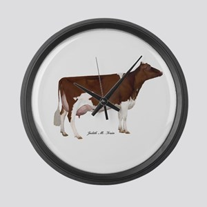 Red and White Holstein Cow Large Wall Clock