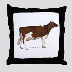 Red and White Holstein Cow Throw Pillow