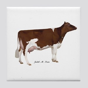 Red and White Holstein Cow Tile Coaster
