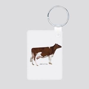 Red and White Holstein Cow Aluminum Photo Keychain