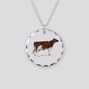 Red and White Holstein Cow Necklace Circle Charm