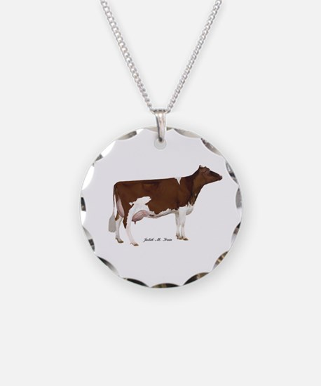 Red and White Holstein Cow Necklace