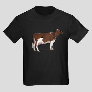 Red and White Holstein Cow Kids Dark T-Shirt