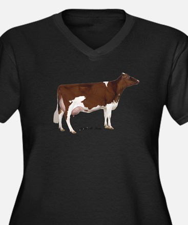 Red and White Holstein Cow Women's Plus Size V-Nec