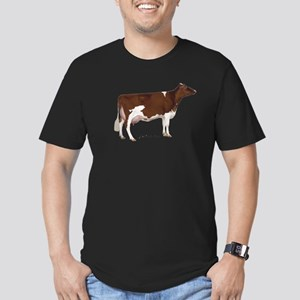 Red and White Holstein Cow Men's Fitted T-Shirt (d