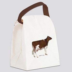 Red and White Holstein Cow Canvas Lunch Bag