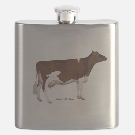 Red and White Holstein Cow Flask