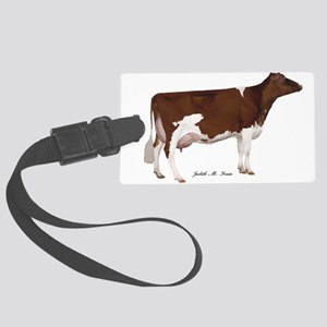Red and White Holstein Cow Large Luggage Tag
