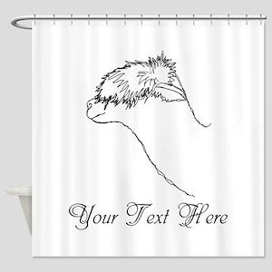 Alpaca. Custom Text. Shower Curtain