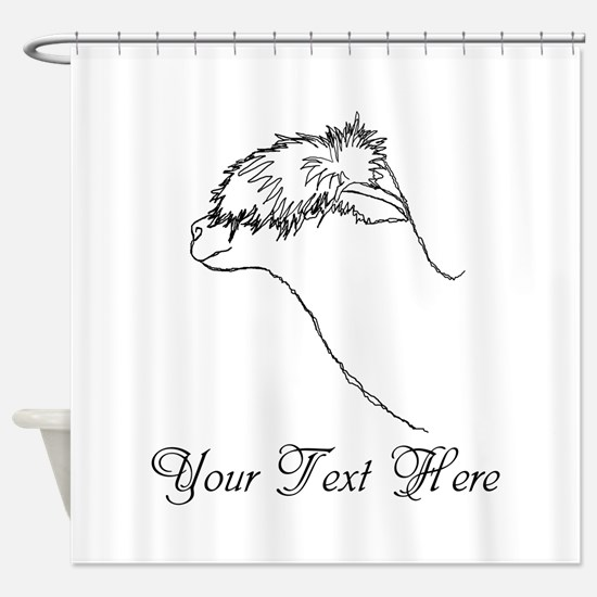 Alpaca. Custom Text. Shower Curtain
