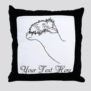Alpaca. Custom Text. Throw Pillow