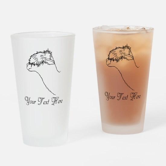 Alpaca. Custom Text. Drinking Glass