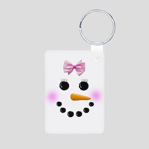 Snow Woman Aluminum Photo Keychain