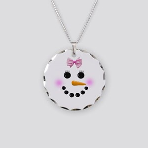 Snow Woman Necklace Circle Charm