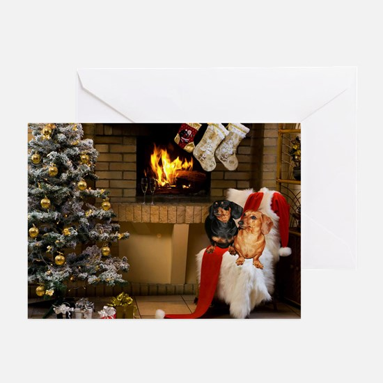 By the Fireplace Doxies Greeting Cards (Pk of 20)