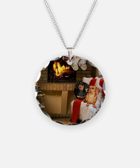 By the Fireplace Doxies Necklace