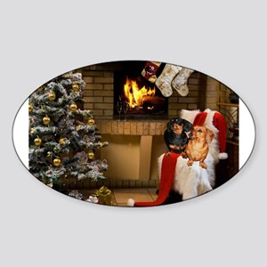 By the Fireplace Doxies Sticker (Oval)