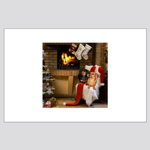 By the Fireplace Doxies Large Poster