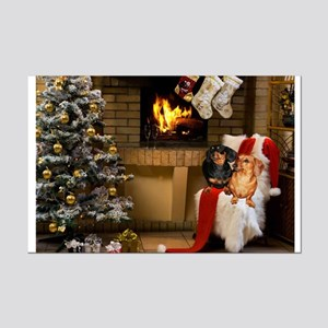 By the Fireplace Doxies Mini Poster Print
