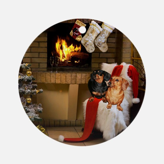 By the Fireplace Doxies Ornament (Round)