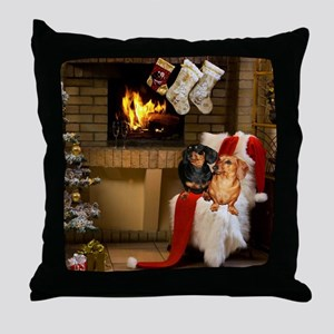 By the Fireplace Doxies Throw Pillow