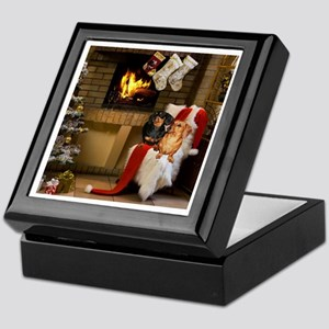 By the Fireplace Doxies Keepsake Box