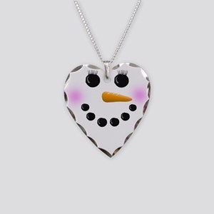 Snow Woman Face Necklace Heart Charm