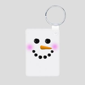 Snowman Face Aluminum Photo Keychain
