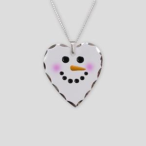 Snowman Face Necklace Heart Charm