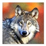 Wolf Art Painting Square Car Magnet 3