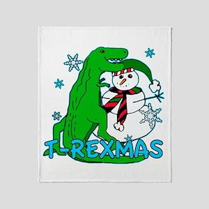 T Rexmas Throw Blanket