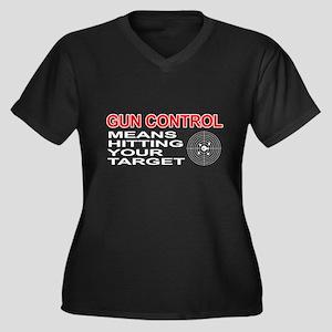 Funny! - Gun Control Women's Plus Size V-Neck Dark